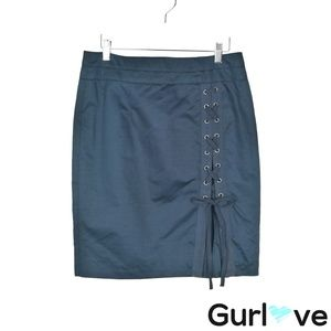 Nanette Lepore 8 Blue Cotton Linen Laced Up Skirt